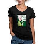 Kiss My Irish Arse Women's V-Neck Dark T-Shirt