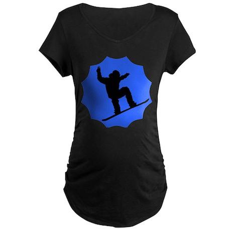 Blue Snowboarder Maternity Dark T-Shirt