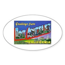 Los Angeles California Greetings Oval Decal