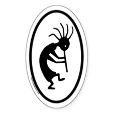 Kokopelli Euro Style Oval Sticker (Right)