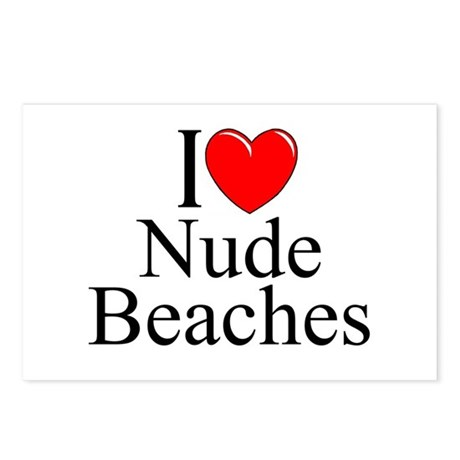 """""""I Love (Heart) Nude Beaches"""" Postcards (Package o"""