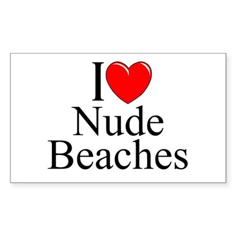 """I Love (Heart) Nude Beaches"" Rectangle Sticker"