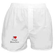 """I Love (Heart) Nude Beaches"" Boxer Shorts"