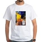 Cafe with Coton de Tulear White T-Shirt