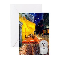 Cafe with Coton de Tulear Greeting Cards (Pk of 10