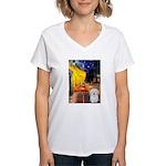 Cafe with Coton de Tulear Women's V-Neck T-Shirt