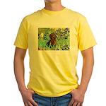 Irises & Dachshund Yellow T-Shirt