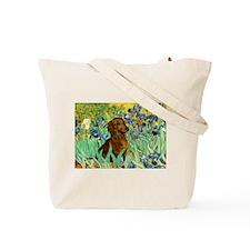 Irises & Dachshund Tote Bag