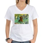Irises & Dachshund Women's V-Neck T-Shirt