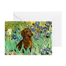 Irises & Dachshund Greeting Card
