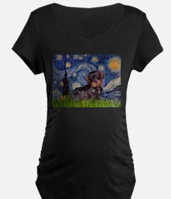 Starry Night Dachshund (Wire) T-Shirt