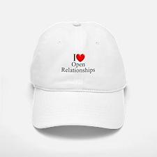 """""""I Love (Heart) Open Relationships"""" Baseball Baseball Cap"""