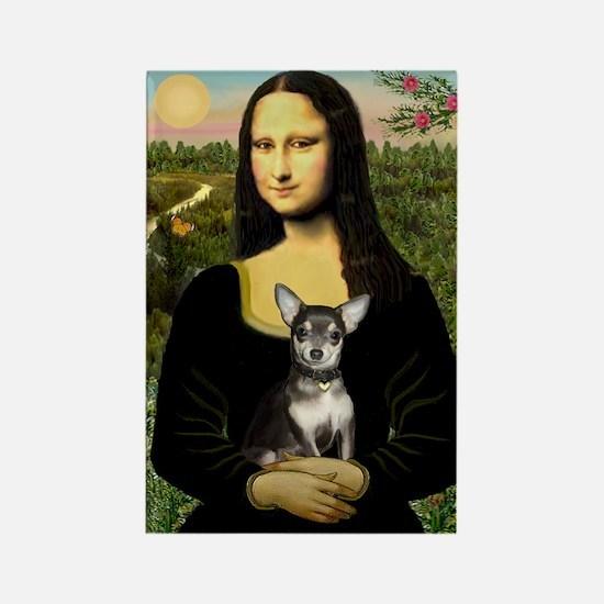 Mona Lisa / Chihuahua Rectangle Magnet