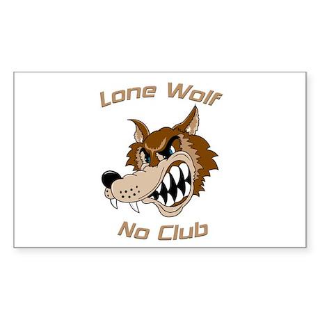 Lone Wolf, No Club Rectangle Sticker