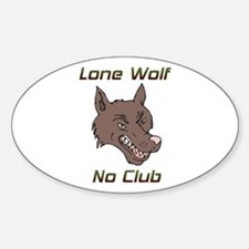 Snarling Lone Wolf No Club Oval Decal