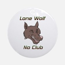 Snarling Lone Wolf No Club Ornament (Round)