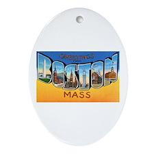 Boston Massachusetts Greetings Oval Ornament