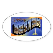 Boston Massachusetts Greetings Oval Decal