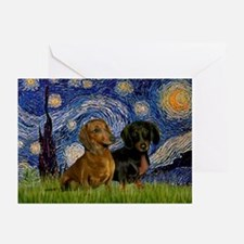 Starry Night Doxie Pair Greeting Cards (Pk of 10)