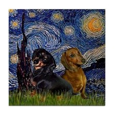 Starry Night Doxie Pair Tile Coaster