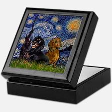 Starry Night Doxie Pair Keepsake Box