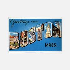 Boston Massachusetts Greetings Rectangle Magnet (1
