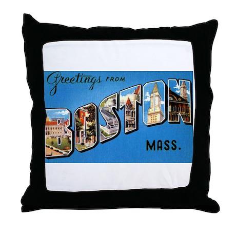 Boston Massachusetts Greetings Throw Pillow