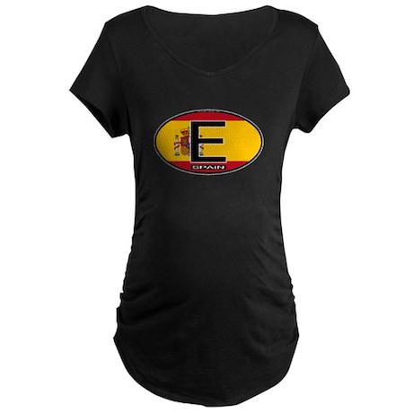 Spain Colors Oval Maternity Dark T-Shirt