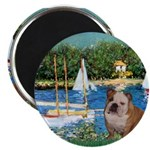Sailboats /English Bulldog Magnet