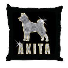 Bling Akita Throw Pillow