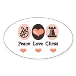 Peace Love Rook Chess Oval Sticker