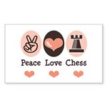 Peace Love Rook Chess Rectangle Sticker