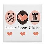 Peace Love Rook Chess Tile Coaster