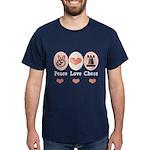 Peace Love Rook Chess Dark T-Shirt