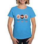 Peace Love Rook Chess Women's Dark T-Shirt