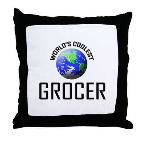 World's Coolest GROCER Throw Pillow