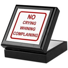 No Crying Sign Keepsake Box