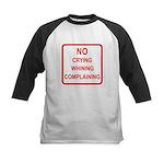 No Crying Sign Kids Baseball Jersey