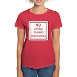 No Crying Sign Women's Dark T-Shirt