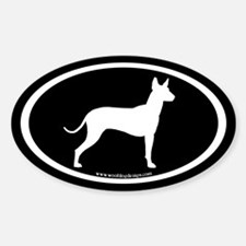 Mexican Hairless (white on black) Oval Decal