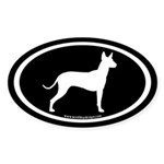 Mexican Hairless (white on black) Oval Sticker