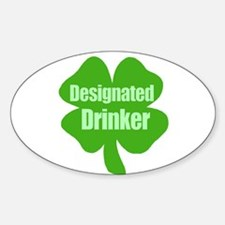 Designated Drinker St Patricks Day Oval Decal