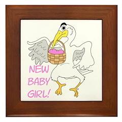 Newborn Baby Girl Framed Tile