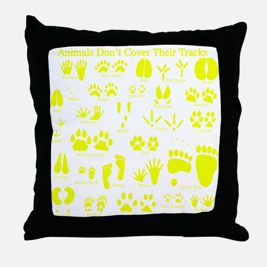 Yellow Tracks Throw Pillow