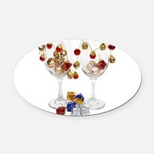CheerfulWineGlasses053110.png Oval Car Magnet