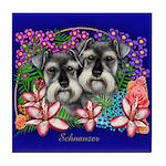 SCHNAUZER DOGS GARDEN FLOWERS Tile Coaster