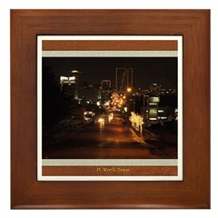 Fort Worth Skyline - Night Framed Tile