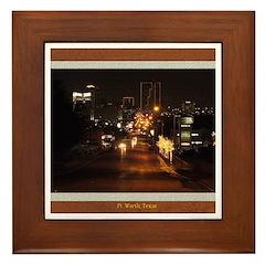 Fort Worth Skyline - Night Framed Tile