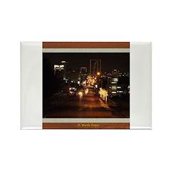 Fort Worth Skyline - Night Rectangle Magnet