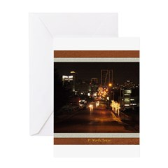 Fort Worth Skyline - Night Greeting Card